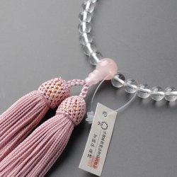 画像1: 仏壇供養に不可欠:京都数珠製造卸組合・女性用・本水晶ローズクォーツ・正絹頭房付