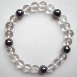 画像2: 数珠ブレスレット・水晶ヘマタイト・親玉8ミリ 送料無料;仏壇供養に便利グッズ