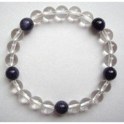 画像2: 数珠ブレスレット・水晶紫金石・親玉8ミリ 送料無料;仏壇供養に便利グッズ
