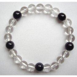 画像2: 数珠ブレスレット・水晶黒オニキス・親玉8ミリ 送料無料;仏壇供養に便利グッズ