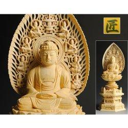 画像2: 仏像【総檜六角飛天光背:釈迦如来2.0寸】曹洞宗・禅宗・臨済宗 仏壇用御本尊 送料無料