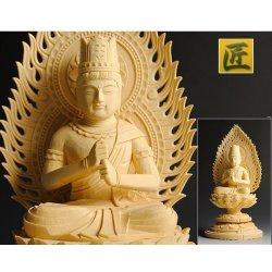 画像2: 【仏像】高級上彫り・真言宗大日如来・檜丸台火炎光背・2.0寸