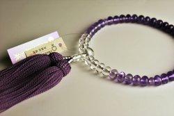 画像2: 仏壇供養に不可欠:京念珠【紫水晶グラデーション みかん珠】女性用・正絹房 ネコポス送料無料