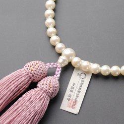 画像1: 仏壇供養に不可欠:京都数珠製造卸組合・女性用・貝パール・正絹頭房付