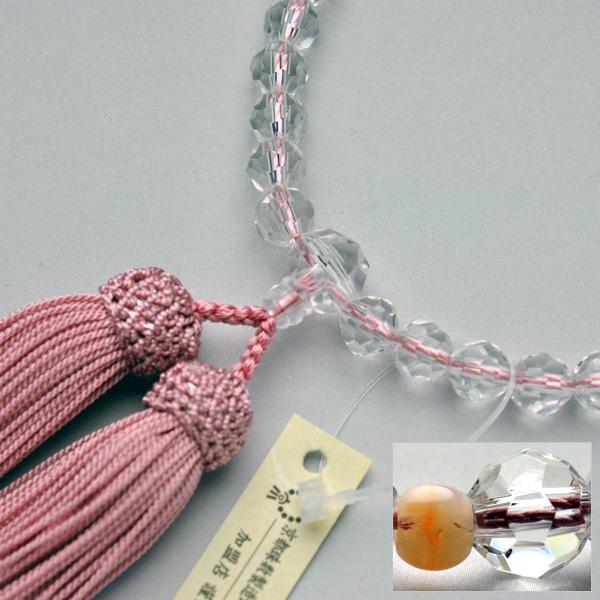 仏壇供養に不可欠:京都数珠製造卸組合・女性用・京カット・ピンクサンゴ仕立 - 仏壇仏具の仏縁堂